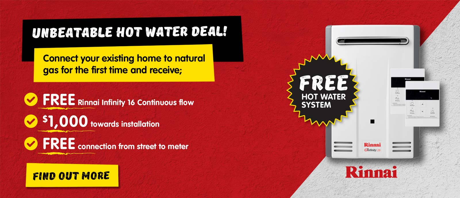 Rinnai Infinity 16 Continuous Flow Gas Hot Water Offer