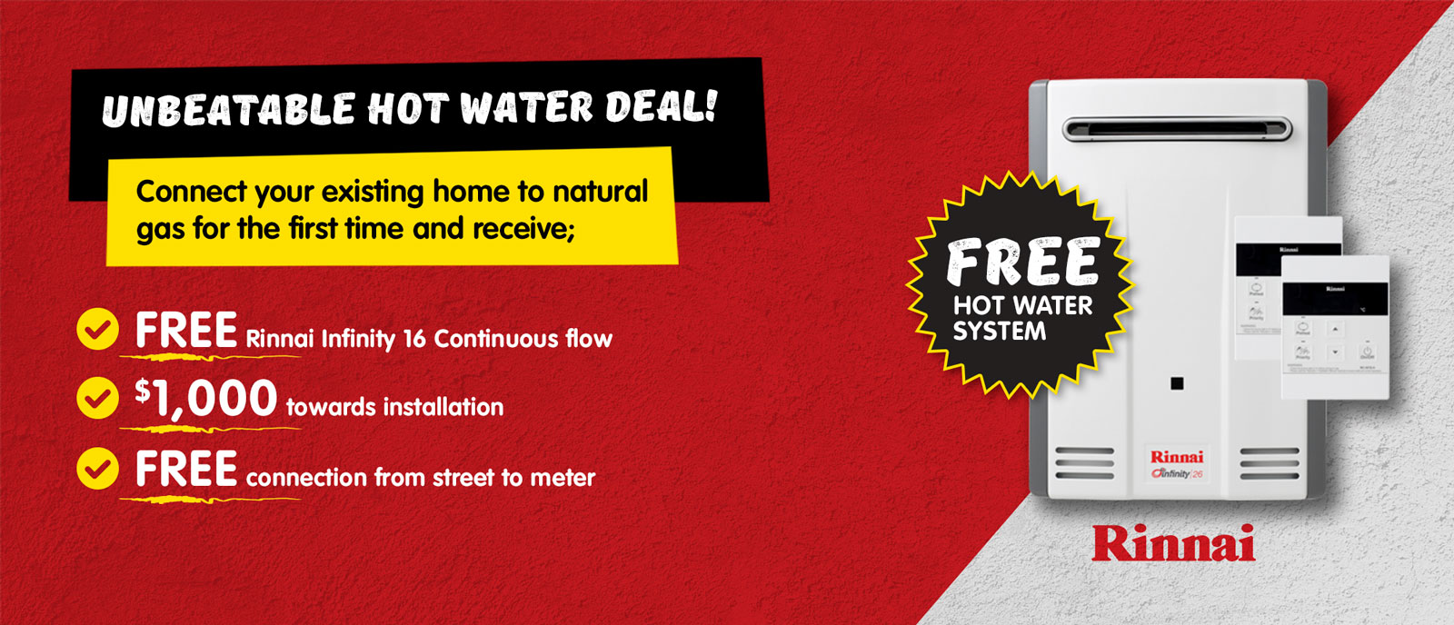 Rinnai Infinity 16 Continuous Flow Gas Hot Water Offer large
